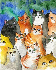 Many Cats Painting  - Many Cats Fine Art Print by Sylvia Pimental