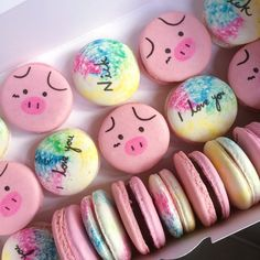 Pig / Rainbow tie-dye macarons! Availability and contact details up on bioemoji
