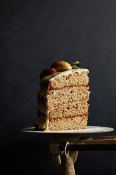 spiced apple layer cake with goat cheese frosting and caramel