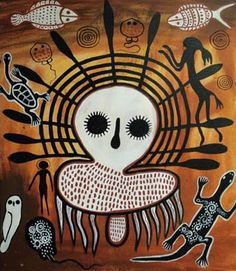 """Alien"" from Andrew Noble private collection of aboriginal contemporary art ""This is an exploration into time and space, particularly in. Aboriginal Tattoo, Aboriginal Symbols, Aboriginal Dot Painting, Aboriginal Culture, Indigenous Australian Art, Indigenous Art, Naive Art, Ancient Aliens, Tribal Art"