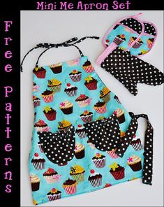 Kids Apron Set - Free Pattern (Apron, Two Pot Holders, One Oven Mitt) - by Living with Punks @ sew-whats-new.com  (resource for cupcake fabric included)