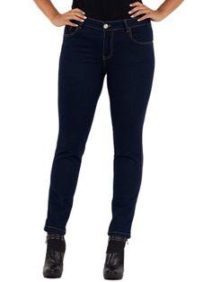 Jeans Basic skinny in misto cotone stretch lavaggio scuro con bottone e rivetti con logo, impunture a contrasto in due colori, etichetta in eco-pelle dietro. Vita regolare, gamba stretta al fondo.