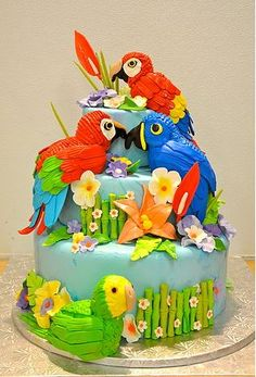 tropical parrot cake www.soonjasbakery.com Gorgeous Cakes, Amazing Cakes, Wedding Cakes With Cupcakes, Cupcake Cakes, Zoo Da Zu, Dad Cake, Flamingo Cake, 4th Birthday Cakes, Food Artists