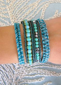 Macrame and Beaded Wrap Bracelet With Dark Turquoise Leather and a Button Clasp - Shades of Teal. $63.00, via Etsy.
