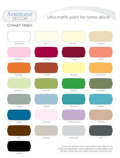 Decoart Chalky Paint Inspiration Board | Paint colour charts ...