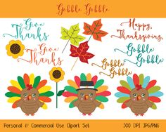 TURKEY CLIPART Commercial Use Ok Cute THANKSGIVING Clip Art Word Art, Turkey Leaves Sinflowers Digital clip art Instant Download Jpg/Png by ClipArtBrat on Etsy