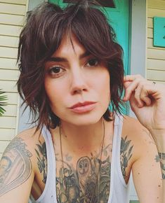 Our friend rocking her short shag razor cut by ❤️ Styled using eco/ clean beauty by… Short Curly Hair, Short Hair Cuts, Curly Hair Styles, Bohemian Hairstyles, Cool Hairstyles, Razor Cut Hairstyles, Bohemian Short Hair, Bride Hairstyles, Hairstyle Ideas