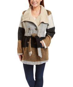 Look at this #zulilyfind! Brown & Gray Belted Wool-Blend Peacoat #zulilyfinds