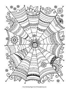 Halloween Coloring Pages EBook Zentangle Spider Web
