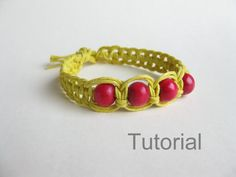 Step by step knotted bracelet tutorial macrame pattern yellow red beads Christmas gift how to knot makrame instructions instant download diy...