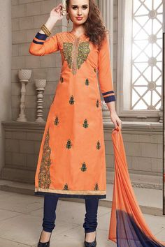 Orange Cotton Churidar Suit Price - £30.00 OccasionFestival Wear, Casual Wear, Ceremonial ColorOrange, Blue FabricCotton, Chiffon DiscountNo WorkEmbroidered, silk thread, Golden Thread Time To Ship:10 to 12 working days #gorgeous #style #dress #collection #salwarkameez #trend #onlineshopping #pretty #indian #fashionable #ethnic #london #wedding #churidarsuits #outfits #bollywood #londonfashion #dresses #shopkund #stylish