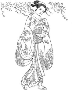 Adult Coloring Pages: Geisha 1