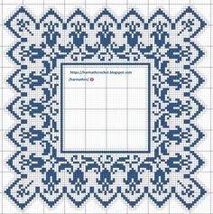 Filet Crochet Charts, Crochet Stitches, Crochet Patterns, Cross Stitch Designs, Cross Stitch Patterns, Crochet Lace, Alphabet, Bullet Journal, Blue And White