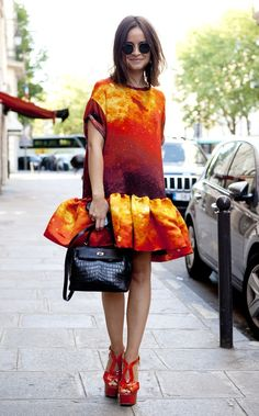 Fabulous fire inspired orange and red dress.