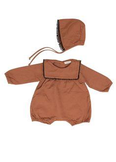 PomPom Romper Bodysuit and Bonnet Set, Brown