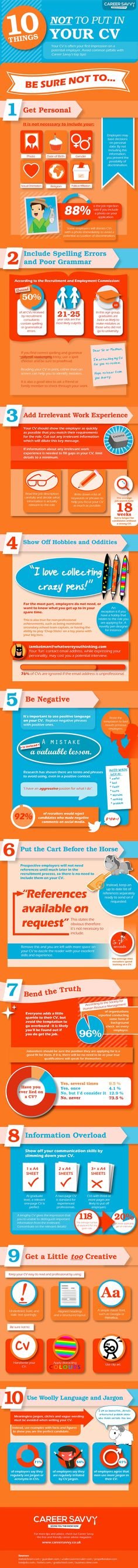 10 things NOT to put in your Resume #infographic