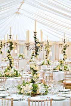 wedding table decor with flowers and candles #reception #decor