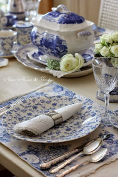 Classic blue and white setting