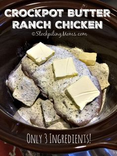 Only 3 ingredients needed for this easy Crockpot Butter Ranch Chicken dinner meal recipe and it tastes amazing! Only 3 ingredients needed for this easy Crockpot Butter Ranch Chicken dinner meal recipe and it tastes amazing! Crock Pot Food, Crockpot Dishes, Crock Pot Slow Cooker, Slow Cooker Recipes, Low Carb Recipes, Cooking Recipes, Crockpot Recipes For Kids, Healthy Recipes, Ketogenic Crockpot Recipes
