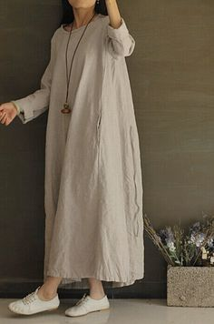Light grey Linen cotton flax long sleeve loose dress, maxi large, autumn winter spring women casual clothing, retro vintage comfortable  D01