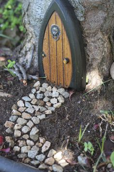 You are commissioning me to construct a wonderful gnome door / faerie door for the Wee Folk in your garden or home. This charming fairy door door Gnome Door, Elf Door, Gnome House, Gnome Tree Stump House, Gnome Garden, Garden Art, Garden Design, Fairies Garden, Garden Plants