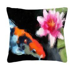 koi art throw pillow: watercolor koi and lily