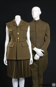 Mans world war 1 US army uniform Made from khaki wool twill. Museum at FIT New York. Us Army Uniforms, Vintage Military Uniforms, Military Costumes, Men In Uniform, British Army Uniform, Period Outfit, Online Collections, New York, World War I