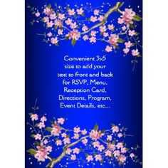 Royal Blue Anese Cherry Blossoms Wedding Invitation