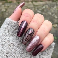 LeChat Starry Night over black stamp, Hot Spots Or rose gold chrome and any dark purple or plum