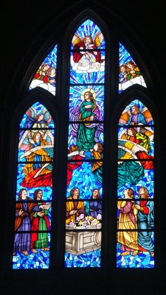 Stained glass, Cathedral of Almudena, Madrid.  Photo by Dian McKinnon