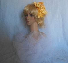 Yellow Satin Bridal Hair Fascinator With by IrmasElegantBoutique