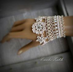 Victoriano de ganchillo pulsera cordón pun  o joyería