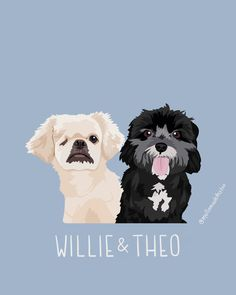 Custom Pet Illustration with Solid Backdrop - Two Pets Including Accessory Option