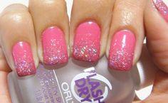 Pink nails w/ a glitter gradient :)