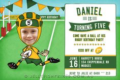 Rugby birthday invitations that you can customise and print. Sweet Wallaby design in the Green and gold. change to your fav teams colours.