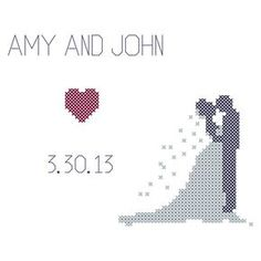 Bride and Groom Silhouette/Cross Stitch Pattern/Bride Cross