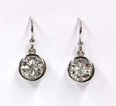 bezel diamond earrings | 6542: Round bezel set diamond platinum drop earrings : Lot 6542