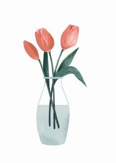 Image of Tulipanes Plant Illustration, Botanical Illustration, Watercolor Illustration, Watercolor Paintings, Plant Painting, Plant Art, Painting & Drawing, Art Drawings, Canvas Art