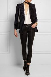 Pinstriped mohair and wool-blend blazer