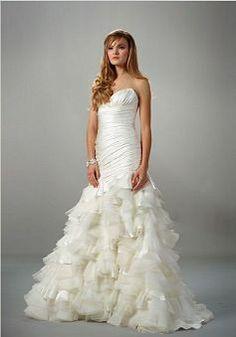 Fancy Sleeveless A line Satin Sweetheart Sweep/ Brush Train Bridal Dress - Lunadress.co.uk