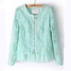Womens Light Blue Long Sleeve Zipper Lace Embroidery Crop Jacket