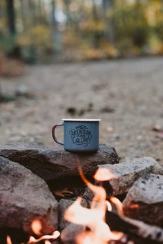 Morning coffee by the campfire.