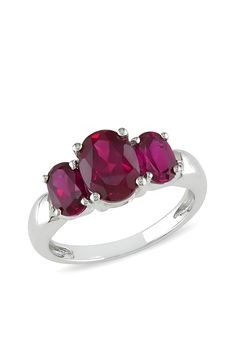 Sterling Silver Triple Oval Created Ruby Ring
