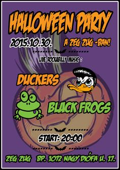 Halloween party flyer in comic style with a little rockabilly-psychobilly.