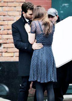 Jamie Dornan & Dakota Johnson on the set of Fifty Shades Darker, (second scene on March 01st. via everythingjamiedornan)