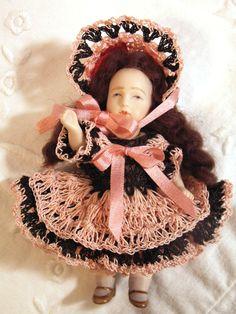 """Dress Pants & Bonnet Set for 3-3.5"""" Doll Bisque Antique Miniature Bru Mignonette"""