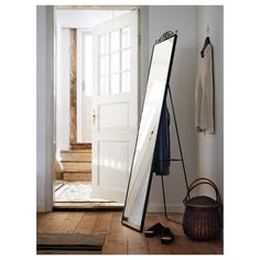 IKEA KARMSUND standing mirror You can place the mirror on the floor or hang it on the wall. Ikea Mirror, Mirrors, Body Mirror, Ikea Bedroom, Bedroom Ideas, Standing Mirror, Floor Mirror, White Rooms, Black Mirror
