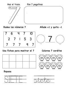 numeros-hasta-el-10-7-638 Kindergarten Math Activities, Math Literacy, Preschool Education, Preschool Worksheets, Fun Math, Activities For Kids, Numbers Preschool, Math Numbers, Learning Spanish