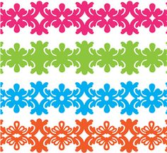 abstract damask floral borders