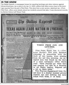 Old Newspapers Offer Few Clues to Denton County Lynching - Denton Record Chronicle citing The Dallas Express: Jan. 6, 1923